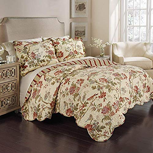 WAVERLY 100% Cotton 3 Piece Reversible Quilt Set (1 Quilt + 2 Shams) (King, Charleston Chirp - Papaya) ()