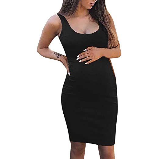 d525a828be4cf Women's Loose Sleeveless Maternity Tank Dress Ruched Side Bodycon Pregnancy  Casual Dresses Knee Length Black