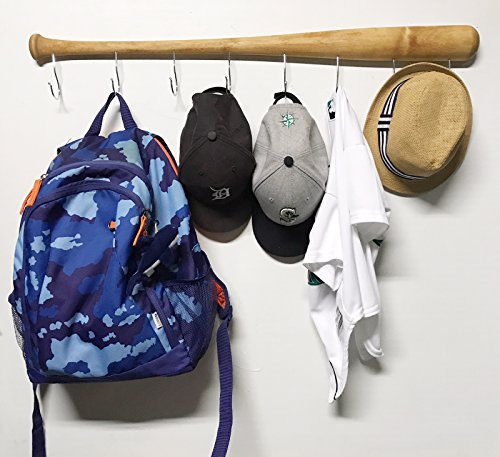 Wall Mounted Hanging Hardwood Baseball Bat Hat Coat Jersey & Cap Rack Display: Useful & Unique Gift Idea for Baseball Lovers or the Perfect Hallway Mudroom Organization System l Natural Handle