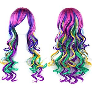 "Straightened length 27.6"" mixed color Long Curly Wavy Hair Women and Girl Cosplay Party Costume Wig(fuchsia, purple, Light cyan, wine red, green, yellow)"