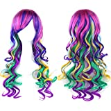 Straightened length 27.6' mixed color Long Curly Wavy Hair Women and Girl Cosplay Party Costume Wig(fuchsia, purple, Light cyan, wine red, green, yellow)