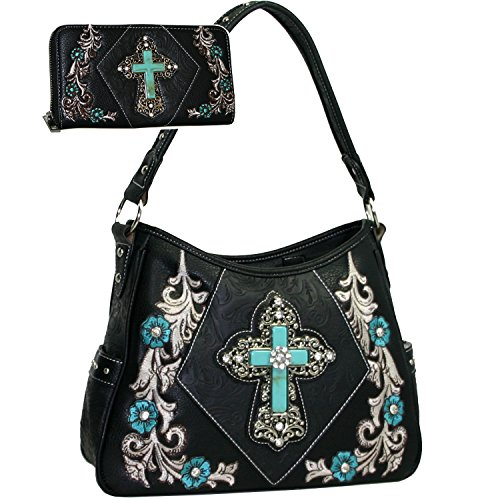 Hand Embroidered Shoulder Bag (Western Rhinestone Studs Cross Floral Embroidered Handbag Purse With Matching Wallet - Black)