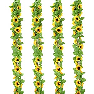 OUTLEE 4 Pack Artificial Sunflower Garland Faux Silk Sunflower Vines with 12 Flower Heads 8 ft Long for Home Garden Wedding Party Decor 28