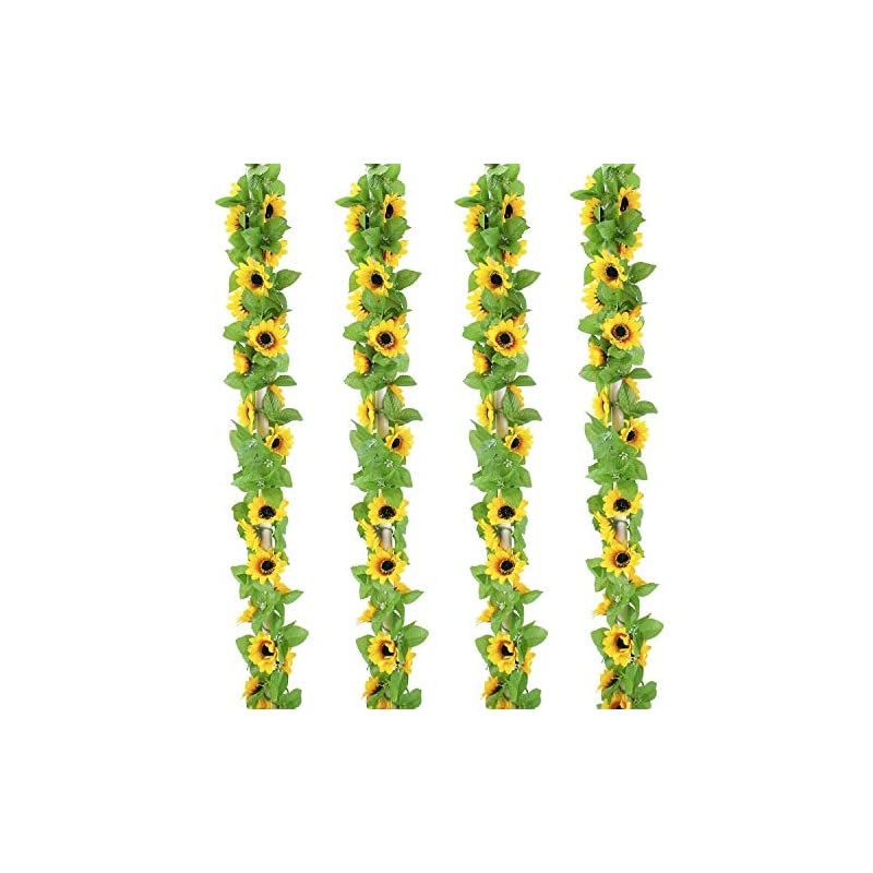 silk flower arrangements outlee 4 pack artificial sunflower garland faux silk sunflower vines with 12 flower heads 8 ft long for home garden wedding party decor …
