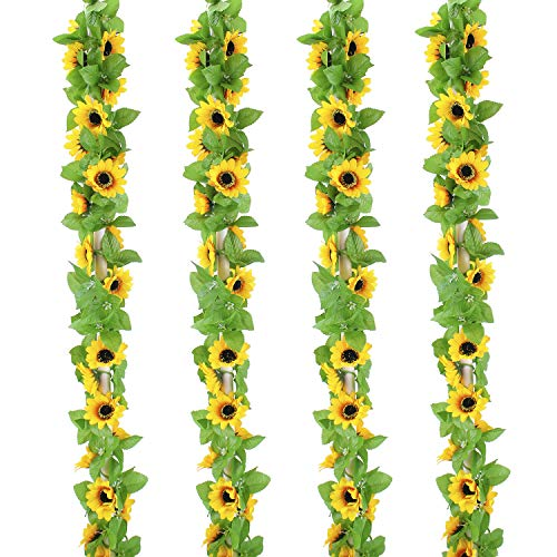 OUTLEE 4 Pack Artificial Sunflower Garland Faux Silk Sunflower Vines with 12 Flower Heads 8 ft Long for Home Garden Wedding Party Decor -