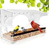 Image of Window Bird Feeder - 2018 Model - Extended Roof - Steel Perch - Sliding Feed Tray Drains Water - See Wild Birds Up Close! - Large