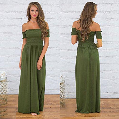 Mujer De Vestido Para Verde JIALELE Ejército Vestidos Vestidos Un Pecho Fiesta Vestido Vestido verde Mujer Fiesta De Noche Hombro Color De OnwqwECPf