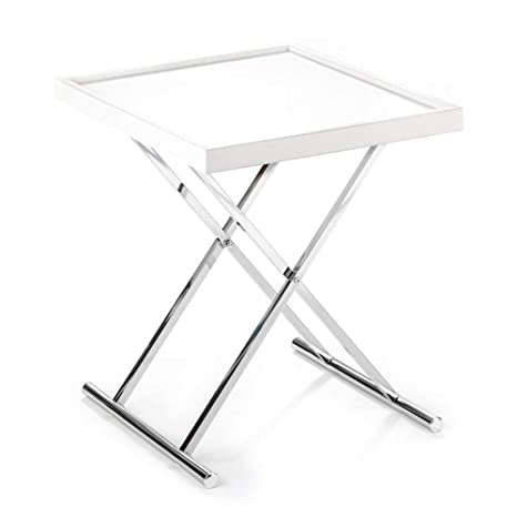 Tavolino Con Vassoio.Wink Design Baldi Tavolino Richiudibile Con Vassoio Estraibile Bianco 70 X 57 X 7 Cm