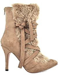 Rosy-1 Lace-Up Furry Women's Slim Heeled Bootie