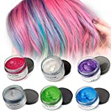 Mofajang Hair Color Wax,INST Temporary Hair Dye,Hair Coloring Wax,Washable Temporary, Natural Hairstyle Color Wax for Party,Halloween,Cosplay(Blue+Grey+White+Pruple+Green+Red)