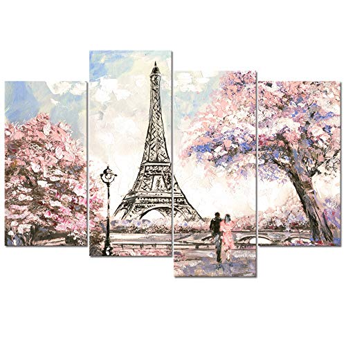 Visual Art Decor Large Pink Painting of Blossoming Paris Street Eiffel Tower Ronmance Lovers Canvas Prints Wall Art Decoration for Home Office Hotel Guest Room Ready to Hang XLarge