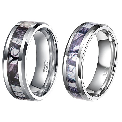 9459319e46 His & Hers Tungsten Camo Inlay Wedding Bands Couple Ring Sets Free Engraving  (women size 9& men size 12) - Buy Online in Oman. | Jewelry Products in  Oman ...