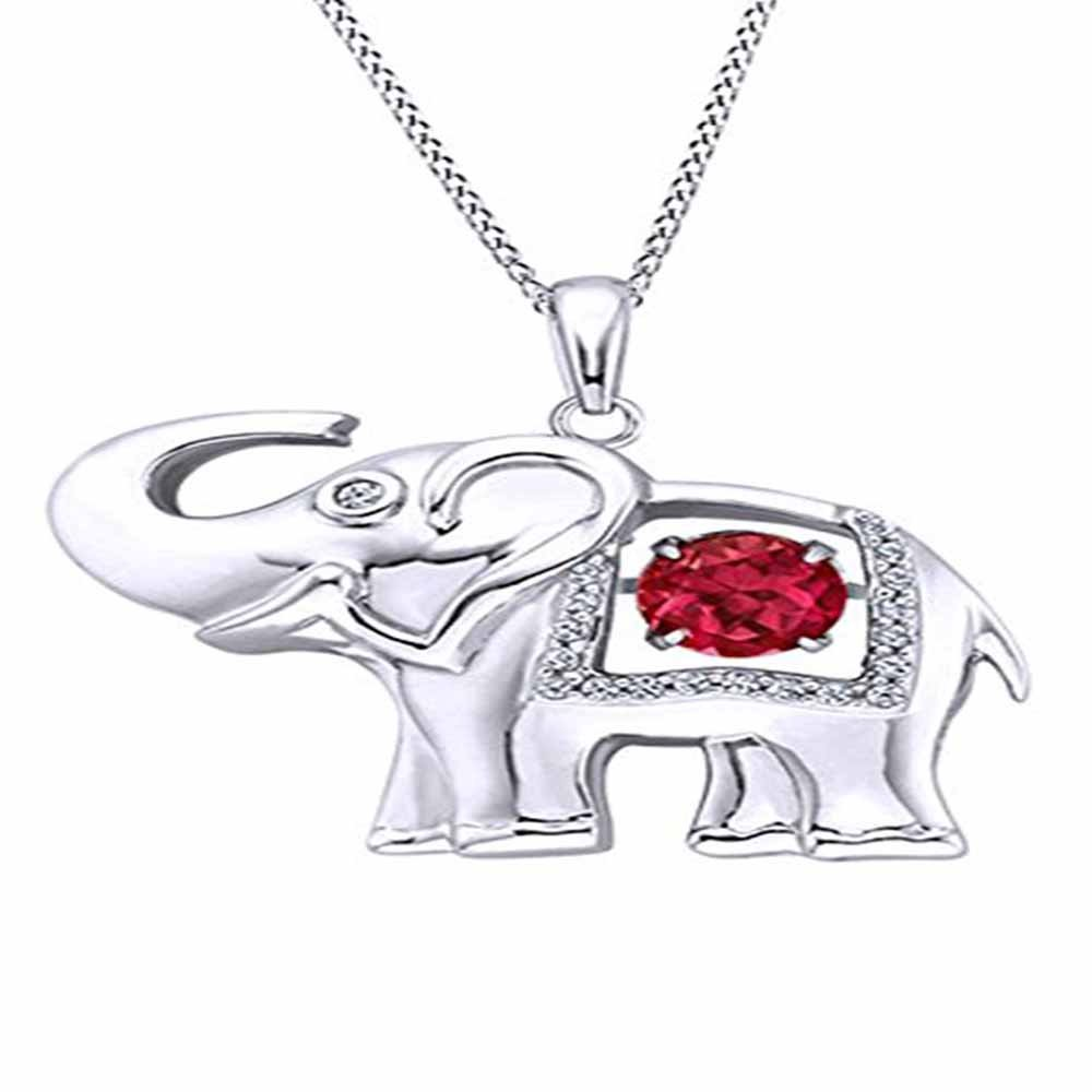 Silverraj Jewels Pendant Collection 14K White Gold Plated Simulated Excellent Round Cut White /& Red Garnet CZ Diamond Initial Elephant Pendant With 18 Box Chain