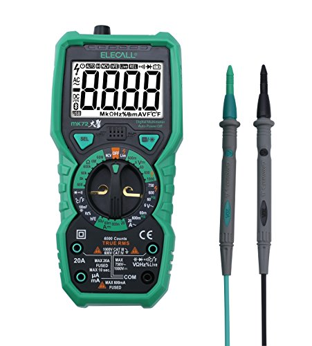Elecall MK72 Advanced Digital Multimeter 6000 Counts True RMS Tester Non-Contact Voltage Detection, with LCD Backlight