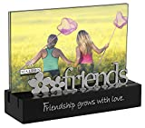 Malden International Designs Friends Desktop Expressions with Silver Word Attachment Picture Frame, 4x6, Black