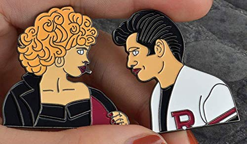 - 2pcs/set Sandy and Danny Enamel Pins Set Punk Movie Grease Ladies Brooches for Girl Boy Bag Jacket Lapel Pin Badge Jewelry Gift. Shipped from USA