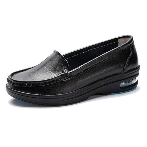 TRULAND Zapatos Mocasines Confort Antideslizante en Cuero Ligeros Cámara de Aire para Mujer Blancos Negros Zapatos