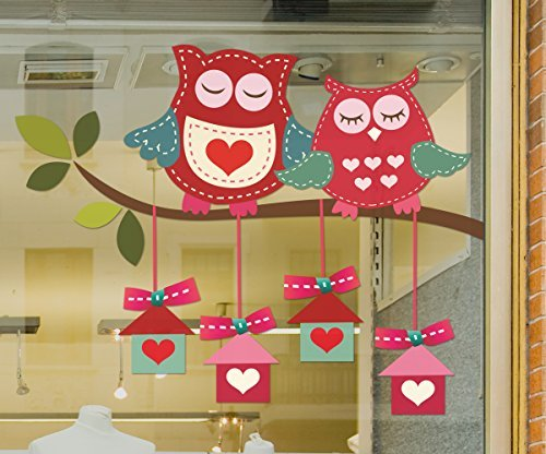 Large Love Owls sitting on a branch with presents hanging beneath static cling window sticker (For RIGHT side of window when viewed from outside). Valentine's window stickers