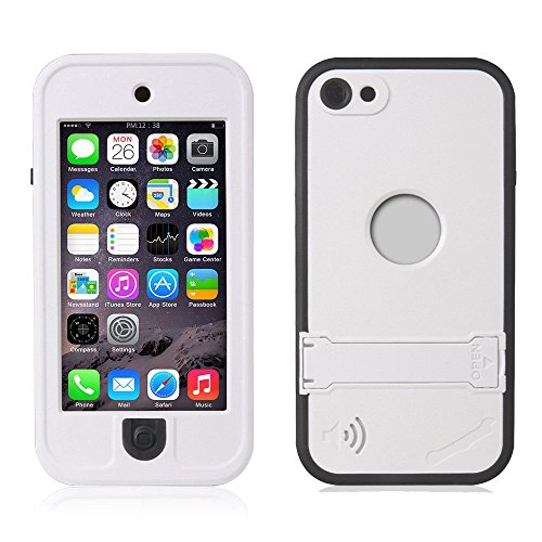 Efanr iPod 5 iPod 6 Case, Waterproof iPod Touch Defender Dustproof Sweatproof Case Cover with Kickstand Touch Screen for Apple iPod Touch 5th & 6th Generation (White)