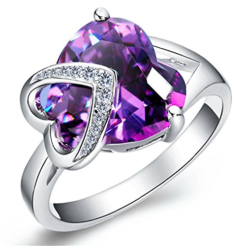 Uloveido Ladies Fashion Statement Jewelry Arrow Love Purple Ring Synthetic...