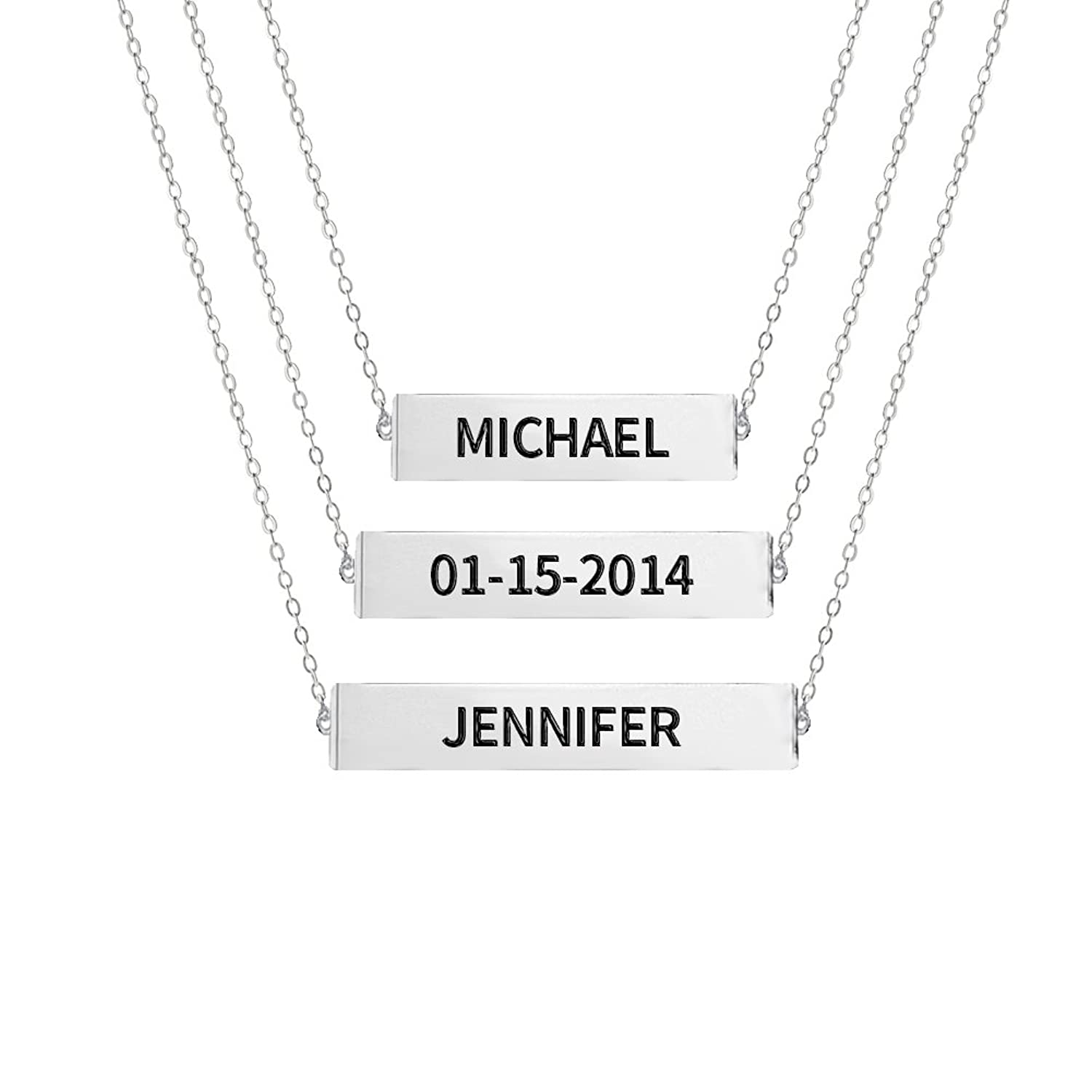 Ouslier 925 Sterling Silver Personalized Layered Bar Necklace Custom Made with 3 Names