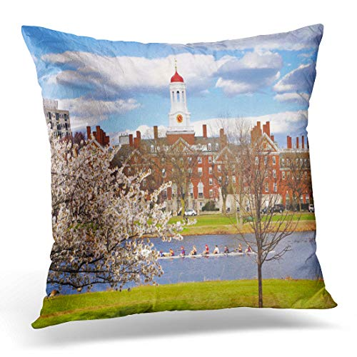 Emvency Throw Pillow Cover Boston Red University Harvard in The Spring Blue Campus Decorative Pillow Case Home Decor Square 18