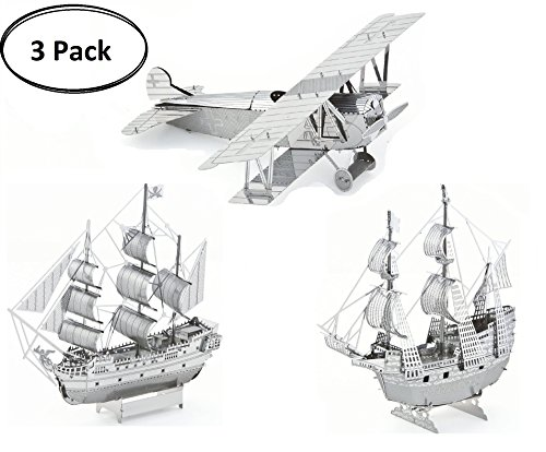 3D Metal Puzzle Models Of Fokker D. VII Airplane, Black Pearl Ship and Mayflower Ship - DIY Toy Metal Sheets Assembling Puzzle, 3D puzzle  3 Pack