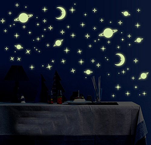 Saturn And Stars Fluorescent Dot Glow In The Dark Stickers Wall Decals Home Art Decor Decal
