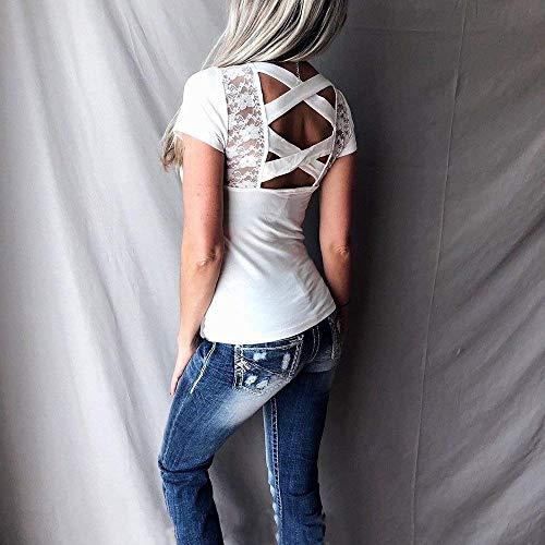 Crossover Branch Femme Shirt Spcial Uni Col Top Shirt pissure Engrener Dentelle Mode Style Et Nu Courtes Dos Slim Jeune Blanc Fit Manches Tee lgant Manche U Mode Tshirt dqXqEgw