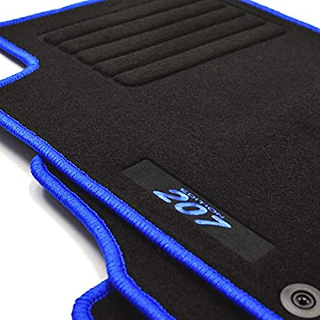 Mattenprofis Velours Logo Fußmatten Passend Für Peugeot 207 207 Sw Ab Bj 02 2006 Blau Auto