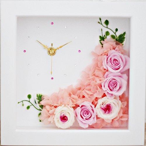 【Eclaire Flower Design】プリザーブドフラワー フラワー時計 シャンパンピンク B01EIBZFFG