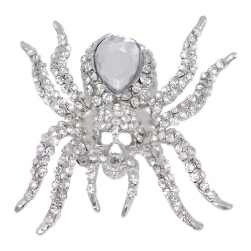 EVER FAITH Women's Austrian Crystal Vintage Style Halloween Spider Brooch Pin Clear Silver-Tone Vintage Style Brooch