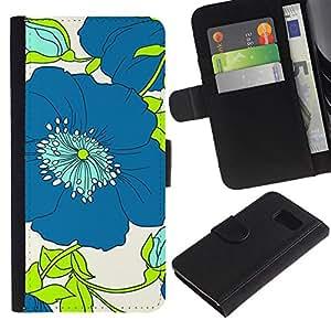iBinBang / Flip Funda de Cuero Case Cover - Dibujo Verde floral de la flor blanca - Samsung Galaxy S6 SM-G920