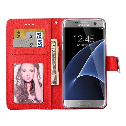 Samsung Galaxy S7 Edge / G935 CaseOracle Textura Caja de cuero horizontal separable del tirón con las ranuras para tarjeta y marco de la carpeta y de la foto y acollador para la galaxia S7 Edge / G935 Red