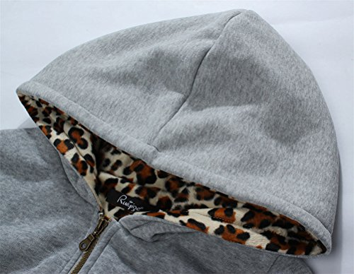 Frauen Plus Size Winter warme und dicke Samt Leopard Hooded Sweater Mantel-Jacken-