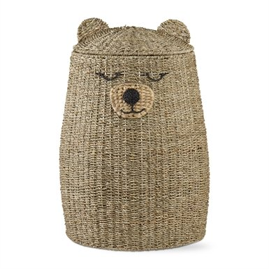 tag - Sleepy Bear Hamper, Perfectly Designed for Your Child's Room or Nursery, Natural (18x26)