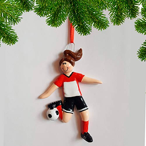 Personalized Soccer Girl Christmas Tree Ornament 2019 - Brown Hair Team Athlete Red Uniform Dribbling Foot-Ball Score Profession Hobby High School FIFA Gift Year Grand-Kid - Free Customization]()