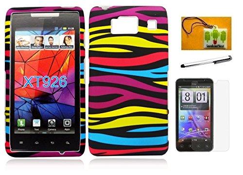 Motorola Droid Razr HD XT926 (Verizon), LF 4 in 1 Bundle Accessory - Hard Case Cover, Stylus Pen, Screen Protector & Wiper (Not for Maxx HD 926M) (Designer Rainbow Zebra) ()