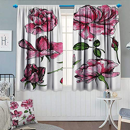 Chaneyhouse Floral Patterned Drape for Glass Door Garden Flowers Roses Buds Leaves Hand Drawn Sketchy Image Art Waterproof Window Curtain 55