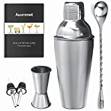 Cocktail Bar Shaker Set ASOMMET Stainless Steel Home Bar Tools Kit with 1/0.5oz jigger, Mixing Spoon, Pourers and Recipes for Mixing Martini, Mojito & More Drinks
