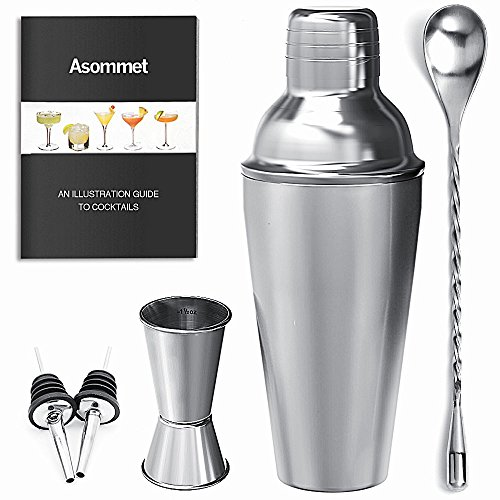1/2 Oz Stainless Bar Jigger - Cocktail Bar Shaker Set ASOMMET Stainless Steel Home Bar Tools Kit with 1/0.5oz jigger, Mixing Spoon, Pourers and Recipes for Mixing Martini, Mojito & More Drinks