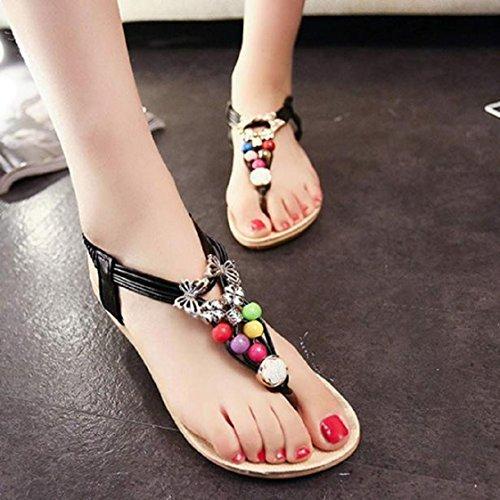 Vovotrade Noir Chaussures Sandals d'été clip Toe Bohemia Sandales Les de plage populaires perles plus douces 6qP46rx