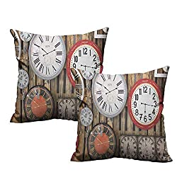 warmfamily Customized Pillowcase Clock Antique Clocks on The Wall Instruments of Time Vintage Design Pattern Artwork Soft and Durable W24 xL24 2 pcs