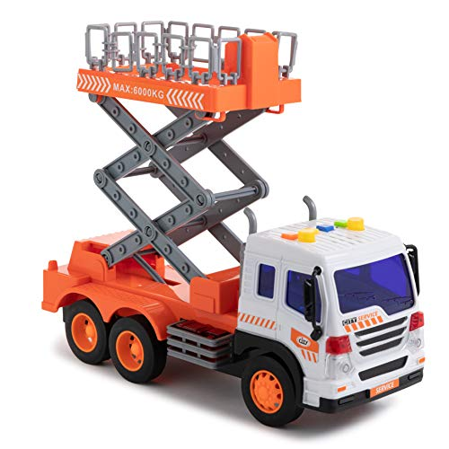 Toy To Enjoy Scaffold Truck Toy with Lift Up Bucket - Friction Powered Wheels & Realistic Detailing - Heavy Duty Plastic Construction Vehicle Toy for Kids & Children
