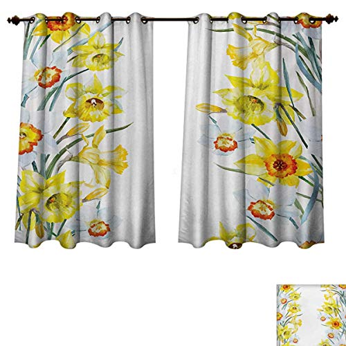 RuppertTextile Daffodil Bedroom Thermal Blackout Curtains Spring Flowers Composition Meditation for Blossoming Results Natural Print Window Curtain Drape Yellow White Red W52 x L63 inch