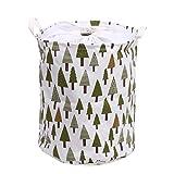 Whitelotous Foldable Large Cylindric Linen Fabric Storage Bin Storage Basket Organizer for Kid's Room Toy Storage, Laundry Hamper (Trees)