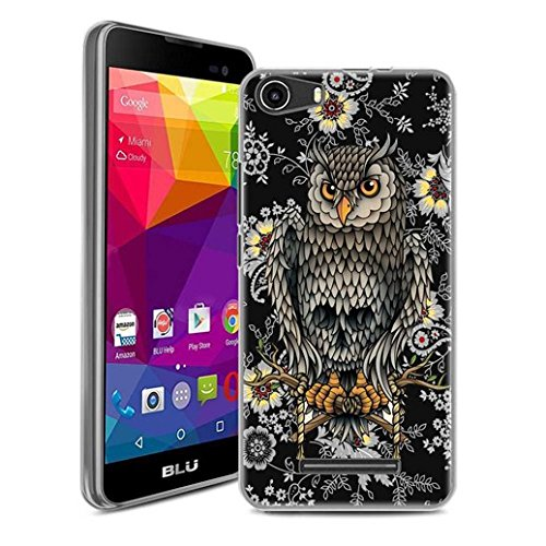 BLU Advance 5.0, BLU Dash M Case, SuperbBeast Ultra Thin Slim Crystal Clear Soft Silicone TPU Rubber Protective Cover Case Skin for BLU Advance 5.0, BLU Dash M Smartphone (Owl Skull)