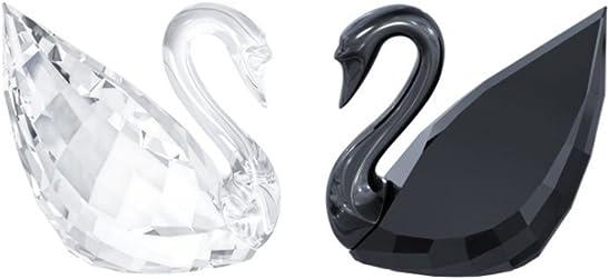 Swarovski 5075864 Swan, Crystal and Jet Set of 2