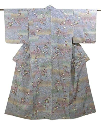堤防回復する報奨金リサイクル 着物 小紋 短冊に椿の花模様 金銀彩 裄63cm 身丈155cm