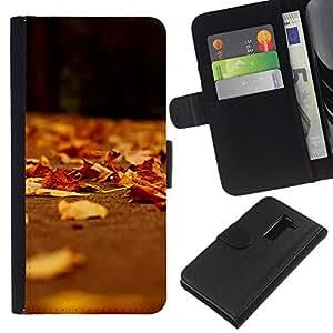 KLONGSHOP // Tirón de la caja Cartera de cuero con ranuras para tarjetas - Brown deja dom Naturaleza Otoño - LG G2 D800 //